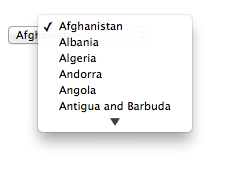 A drop-down control with a long alphabetical list of countries.